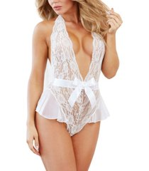 dreamgirl women's lace teddy with halter neckline