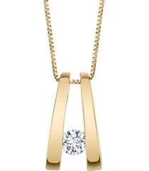 diamond (1/5 ct. t.w.) twizzler pendant in 14k white gold or yellow gold