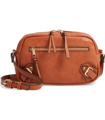 sole society dael faux leather crossbody bag - brown