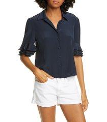women's frame ruffle sleeve silk top, size small - blue