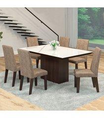 mesa de jantar 6 lugares manu venus ameixa/malta/branco - viero móveis