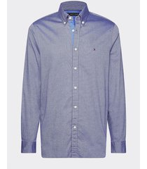 camisa th flex de corte slim gris tommy hilfiger