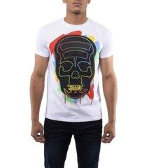 men's spray paint skull rhinestone short sleeve t-shirt
