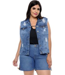 colete jeans cambos plus size stone azul