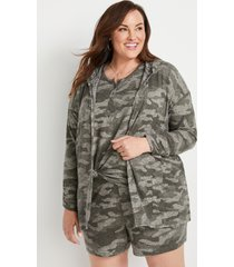 maurices plus size womens camo hooded lounge cardigan green