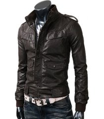 handmade men slim brown leather jacket with chest panel and flap double pocket