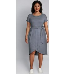 lane bryant women's crossover midi dress 14/16 navy & white stripe