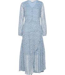 dress in frost print w. long sleeve knälång klänning blå coster copenhagen
