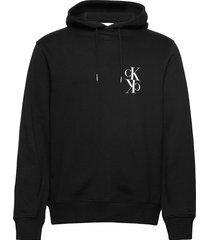 back mirrored monogram hoodie hoodie svart calvin klein jeans