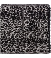 saint laurent leopard print scarf - black