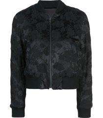 ann demeulemeester all-over print bomber jacket - black