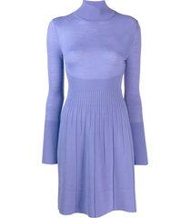 versace pre-owned turtleneck knitted dress - purple
