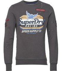 custom 1334 crew sweat-shirt trui grijs superdry