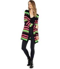 casaco pink tricot longo tricô listrado feminino