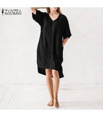 zanzea mujer verano tallas grandes mini vestido corto con cuello en v vestido básico de fiesta en el club de playa -negro