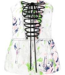 philosophy di lorenzo serafini painterly-print lace-up vest - white