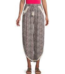 surf gypsy women's printed crochet fringe hem pants - ivory multi - size m