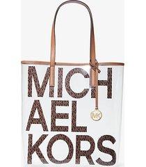 mk borsa tote themichael grande trasparente con logo - brown multi - michael kors