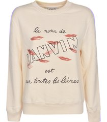 lanvin lip logo printed sweatshirt