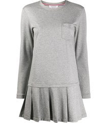 thom browne drop waist pleated bottom dress in light weight loopback -