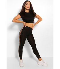 leopard print side stripetop and legging co-ord, black