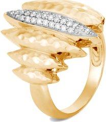 women's john hardy classic chain hammered spear 18k gold & diamond ring