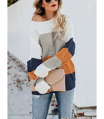color block knit round neck sweater