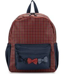 familiar bow detail checked backpack - multicolour