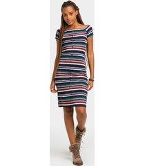 myann stripe button front dress - navy