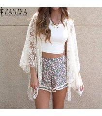 zanzea verano de las mujeres elegantes de la rebeca del cordón atractivo del bordado del kimono hollow blusas sólidas fuera camisas beach outwear blusas tops (blanco) -blanco