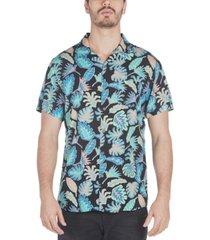sovereign code men's graham regular-fit frond-print camp shirt