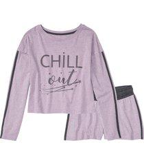 pigiama estivo con maglia cropped a maniche lunghe (grigio) - bpc bonprix collection