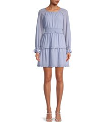 gal meets glam women's ruffle shirred dress - periwinkle - size 00