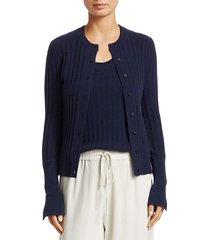 crewneck rib-knit cashmere cardigan