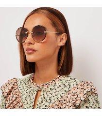 chloé women's scallop edge sunglasses - gold/brown