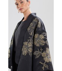 natori structured satin embroidered jacket, women's, size m