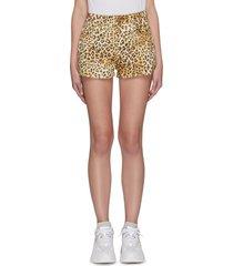 angel patch pocket leopard print shorts