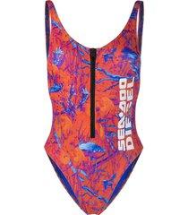 diesel x sea-doo camo-fish print swimsuit - orange