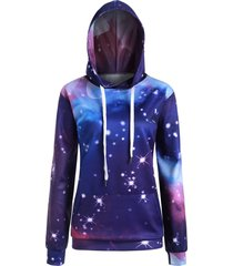 plus size 3d starry sky print pullover hoodie