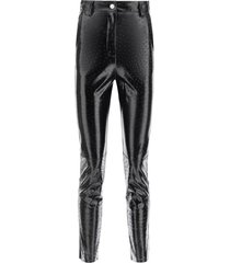 msgm ostrich-effect faux leather trousers