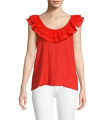 scoop-neck flounce top