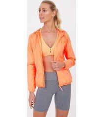 jaqueta esportiva corta vento lisa com bolsos e capuz