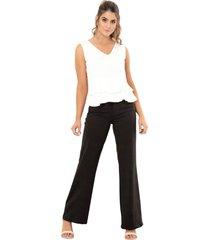 pantalon flare mali negro ragged pf12310293