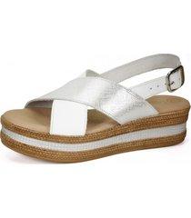 sandalia cuero uxia blanco plateado degas