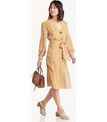 moon river women's buttoned v neck shirt dress in color: mustard/ivory size large from sole society