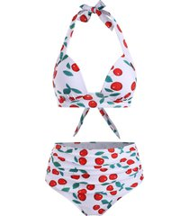 cherry print high waisted ruched bikini swimsuit