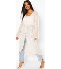 flared sleeve mesh kimono, nude