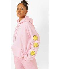 gelicenseerde smiley hoodie, pink