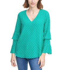 calvin klein clipped dot tiered-sleeve top