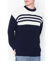 topman navy and white stripe chenille jumper tröjor navy blue